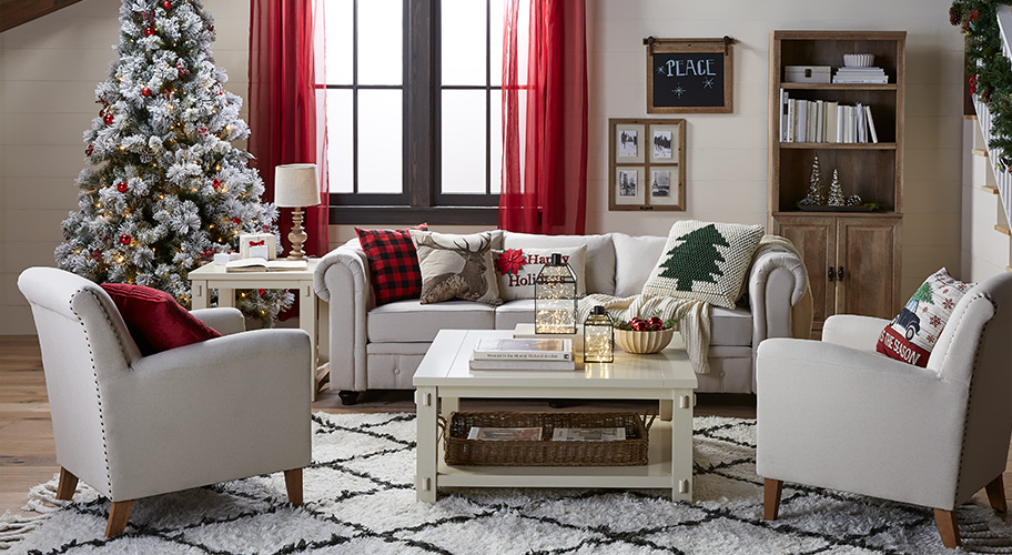 Cozy holiday on the farm. Capture the charm & magic of the holidays with this collection of warm & rustic furnishings. Add seasonal accents & pops of color to complete the look.