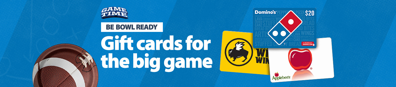 It's Game Time! Be bowl ready. Shop gift cards for the big game today!