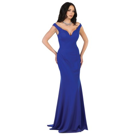 Woman wearing long blue evening gown