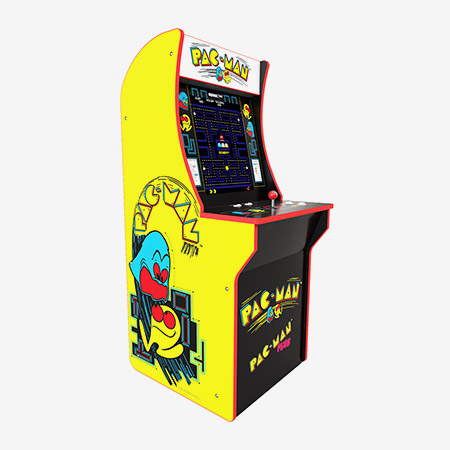 The Arcade1Up Pac-Man miniature arcade cabinet, featuring two games in one.