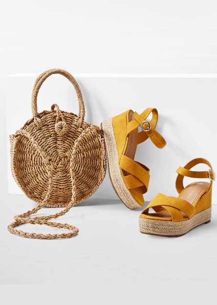 71e4dd846e9f Dress it up with platform wedges and woven bags.