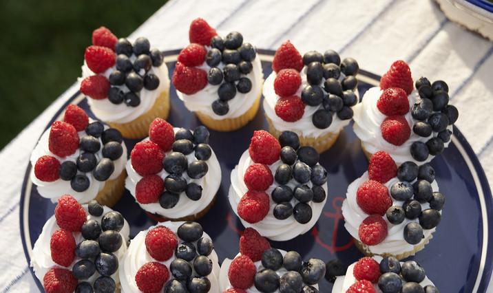 Berry Flag Cupcakes