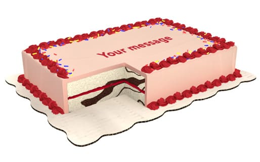 Marble Sheet Cake Decorated With Pink Icing Red Top And Bottom Borders Sprinkles