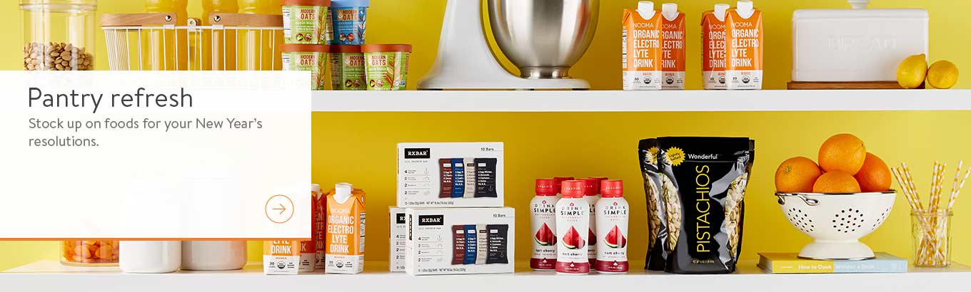 Pantry Refresh. Stock up on Foods for your New Year's resolutions.