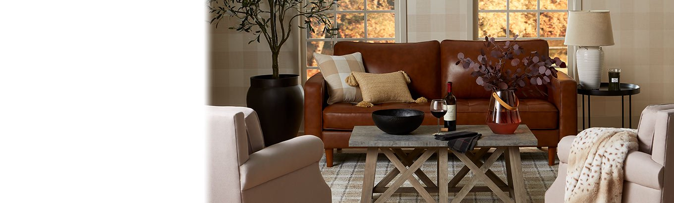 Cozy living room. Furniture, decor, and more. Shop now.