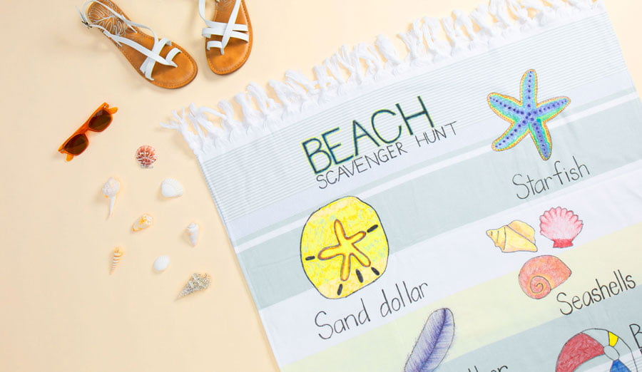 DIY Beach-Themed Scavenger Hunt Towel