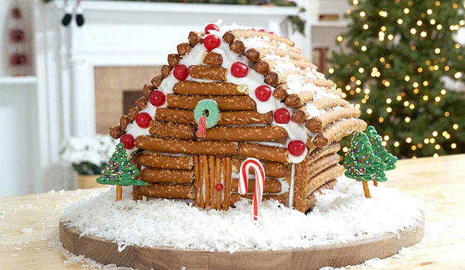 Beautiful gingerbread house log cabin