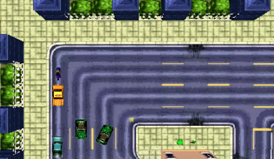 PlayStation Classic - The top-down driving gameplay of the original Grand Theft Auto.
