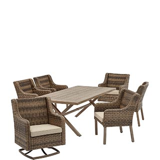 Grey Wood Outdoor Dining Set