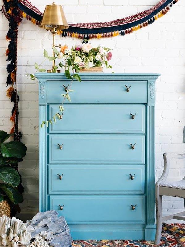 Project Diy Chalk Painted Blue Dresser Walmart Com