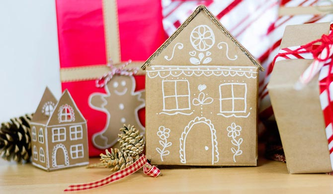 Cardboard gingerbread house gift box how-to