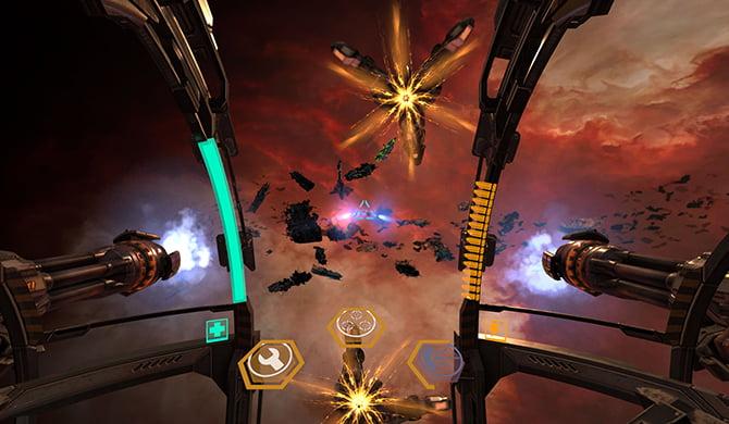 Screenshot of the smartphone virtual reality game Gunjack 2