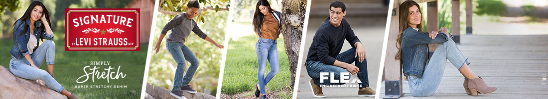 Signature by Levi Strauss: Simply Stretch - Super stretchy denim with FLEX engineered fabric.