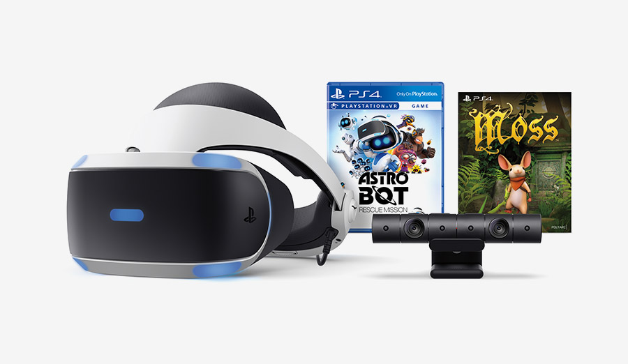 PlayStation VR headset and camera, and box art for Astro Bot Rescue Mission and Moss.