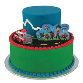 Green And Blue Paw Patrol Fire Truck Tier Cake