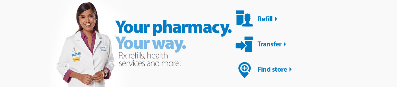 Your pharmacy. Your way. Rx refills, health services and more. Click refill. Click transfer. Click find a store.