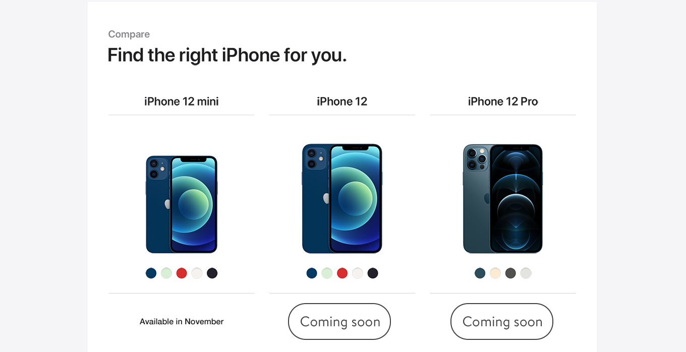 Compare. Find the right iPhone for you. iPhone 21 Mini. Available in November. iPhone 12. Learn more. iPhone 12 Pro. Learn more.