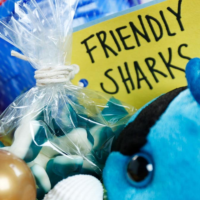 Shark gummy candy in package labeled Friendly Sharks