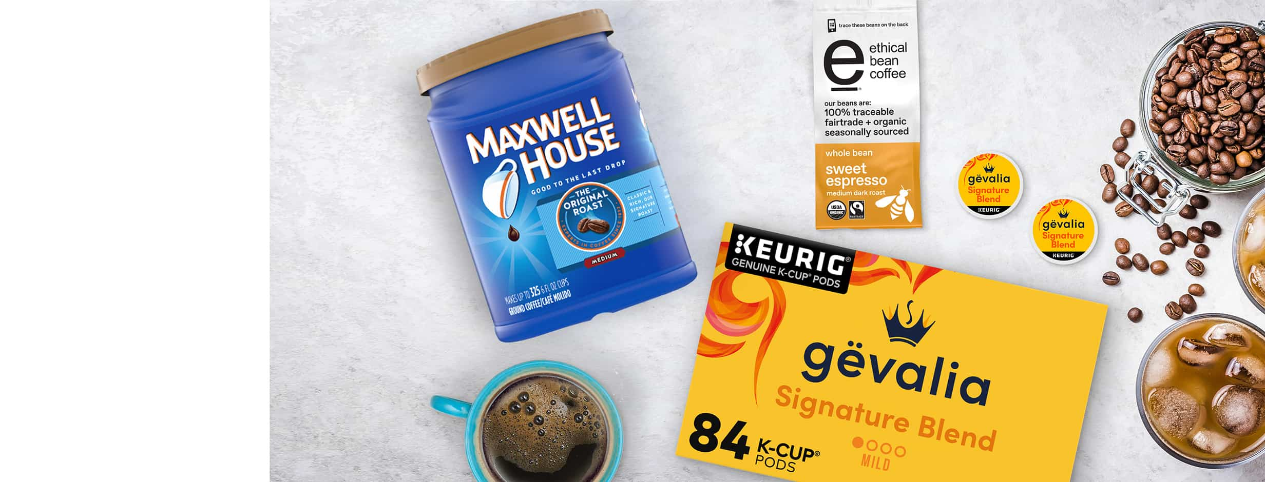 Blend it your way with Gevalia and Maxwell House.
