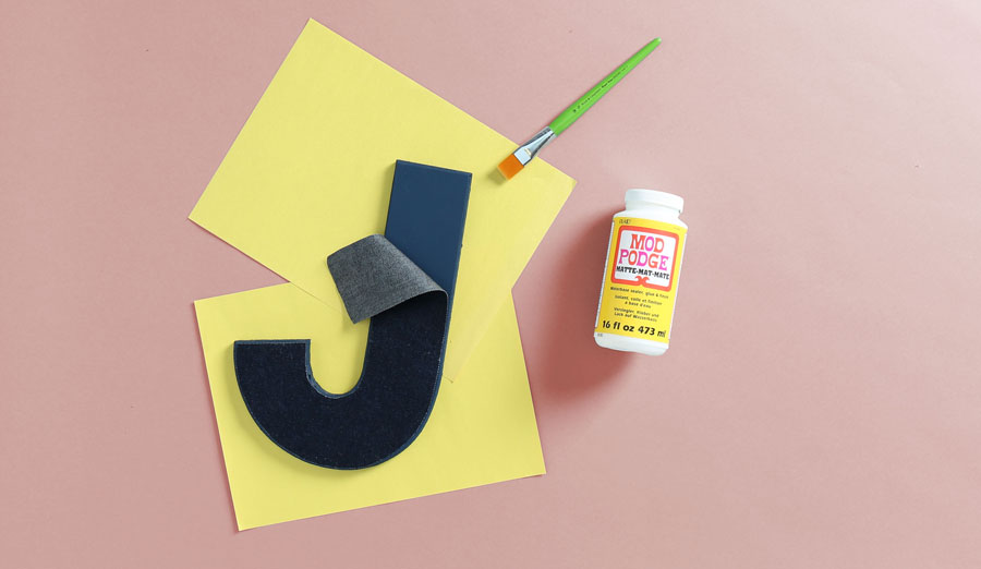 apply mod podge to painted letter