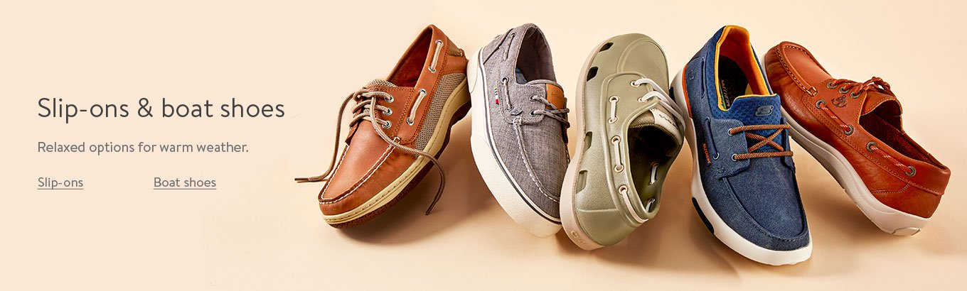 Slip-ons and boat shoes. Relaxed options for warm weather.