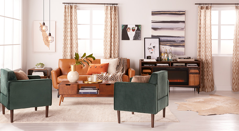 Fall for retro. Updating your space with a mid-century modern style for fall doesn't have to cost a lot of money. Find all of the elements to get this look for less. Discover our large assortment of bold textiles, furniture &  decor.