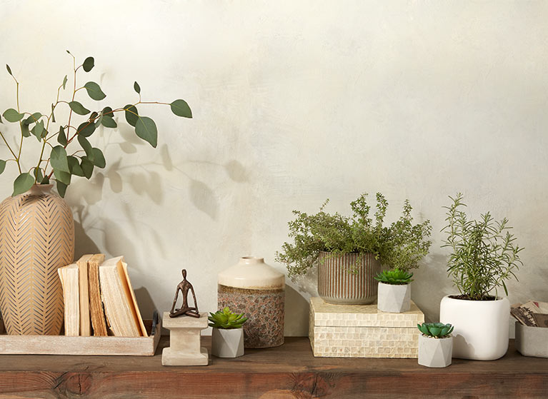 A Balanced Home. Natural Neutrals Like Calming Stone Accents, Faux Greenery  And Boho Decor