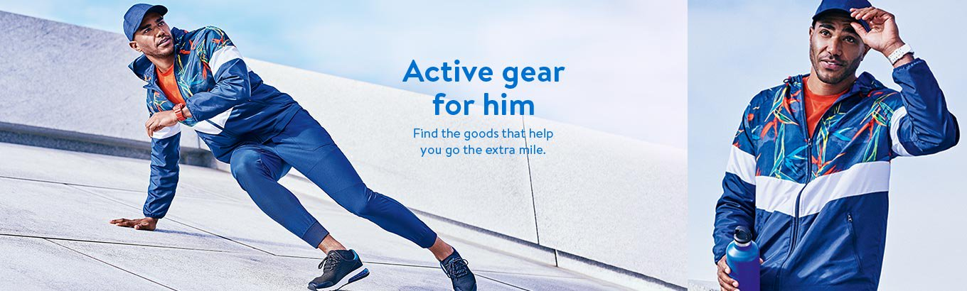 Active gear for him. Find the goods that help you go the extra mile.