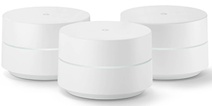 Google wi-fi mesh router system - 3 small round wi-fi routers in a triangle