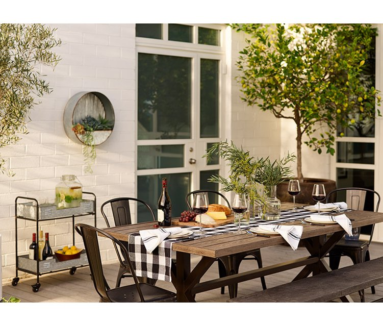 A Rustic Table With Galvanized Metal Dining Chairs And Gingham Runner Links To Outdoor