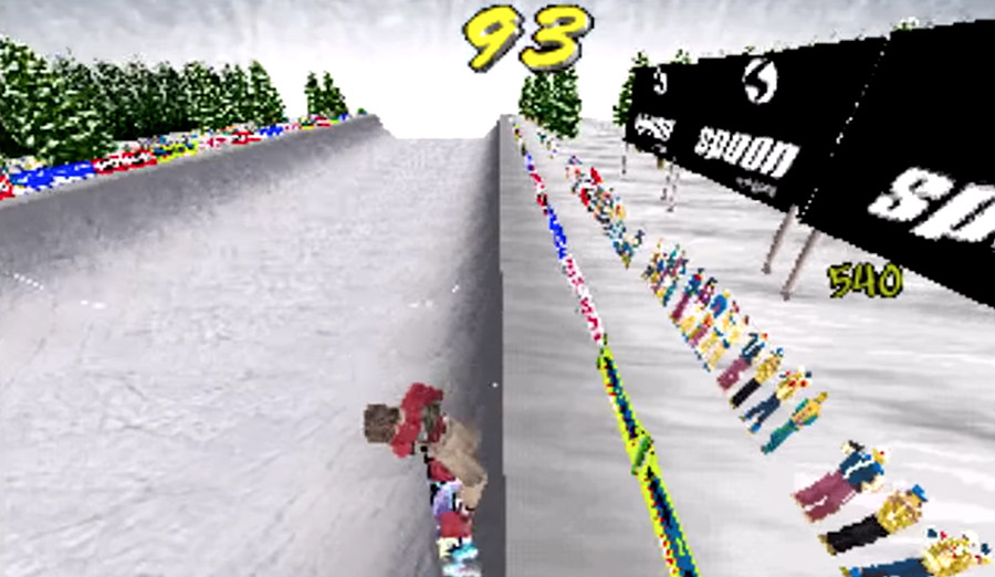 PlayStation Classic - A snowboarder performs tricks out of a half pipe in this Cool Boarders 2 screenshot.