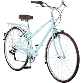 Light green Womens' hybrid comfort bike with brown seat and storage bracket on back