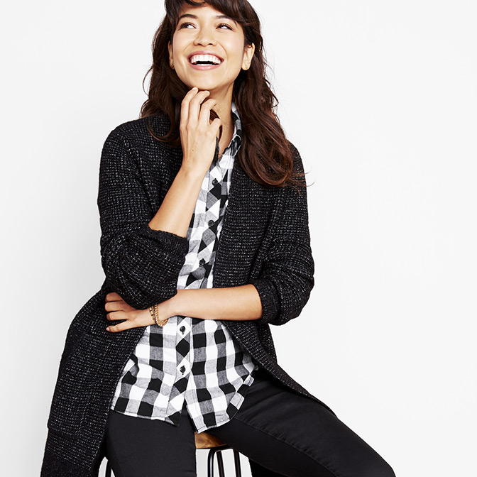 Checkered layers add a pop of print.