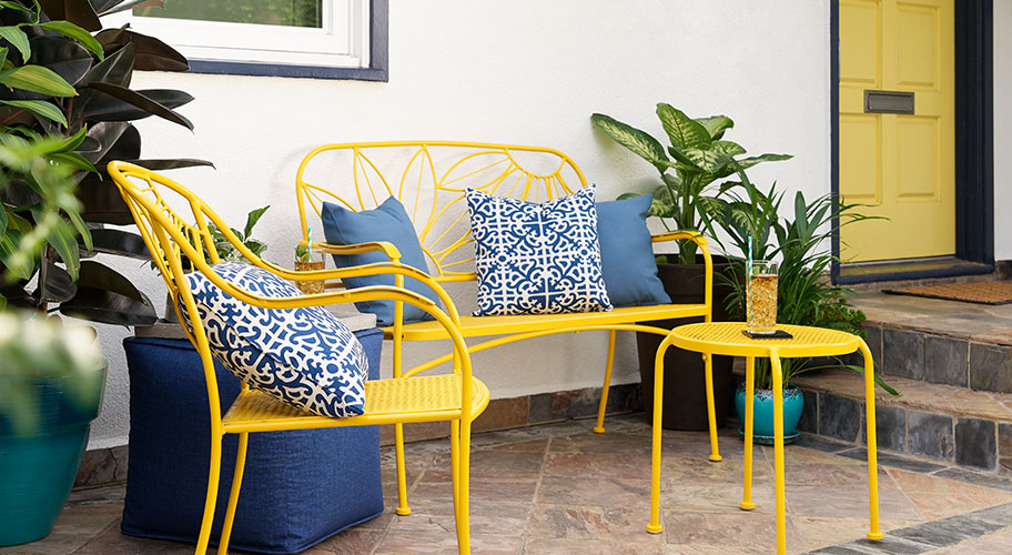 Hello Sunshine. Make a colorful first impression with cheery accent furniture & summery decor.