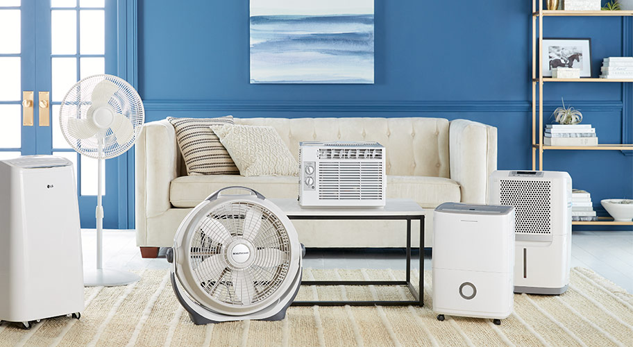 Warm weather essentials. Kick off the season and stay cool this summer with air conditioners, dehumidifiers, fans and more.
