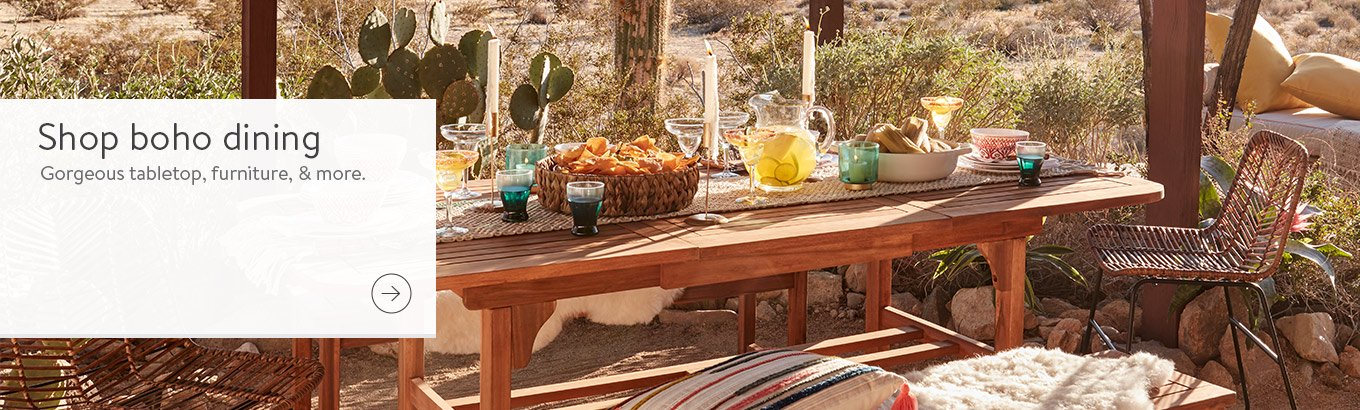 Shop boho dining. Gorgeous tabletop, furniture, and more.
