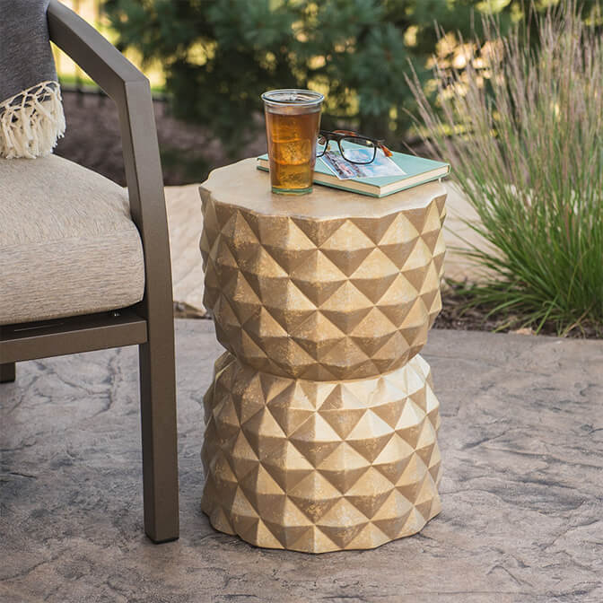 Use garden stools for added character.