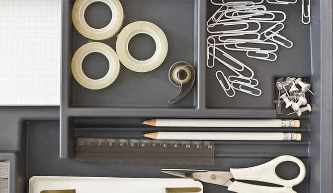 office supplies in drawer