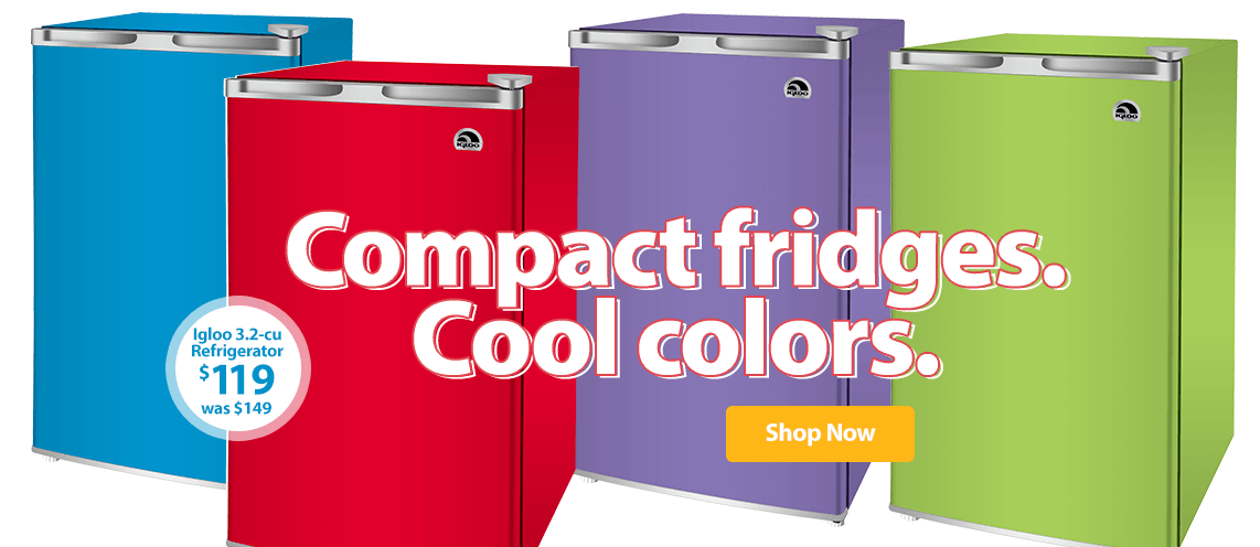 Compact Fridges. Cool colors.