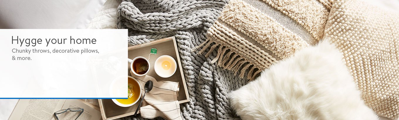 Hygge your home. Shop throws, decorative pillows, and more.