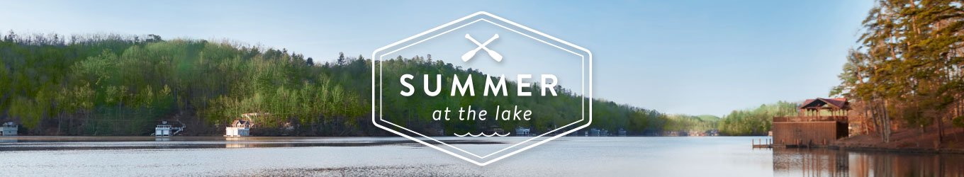 Summer at the lake banner on an image of a lake.