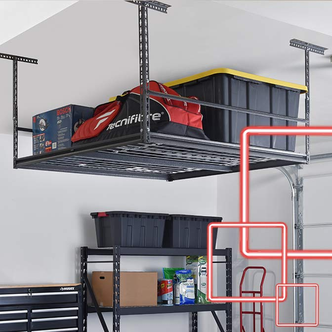 Ceiling racks for overhead storage.
