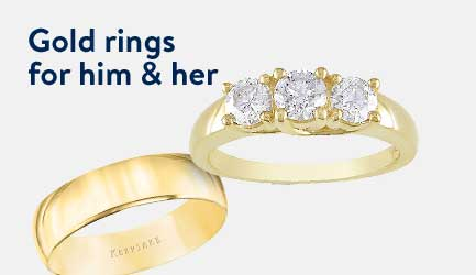 Gold rings for him and her.