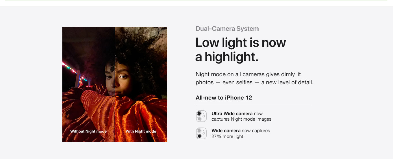 Dual-Camera System. Low light is now a highlight. Night mode on all cameras gives dimly lit photos — even selfies — a new level of detail. All-new to iPhone 12. Ultra Wide camera now captures Night mode images. Wide camera now captures 27% more light.