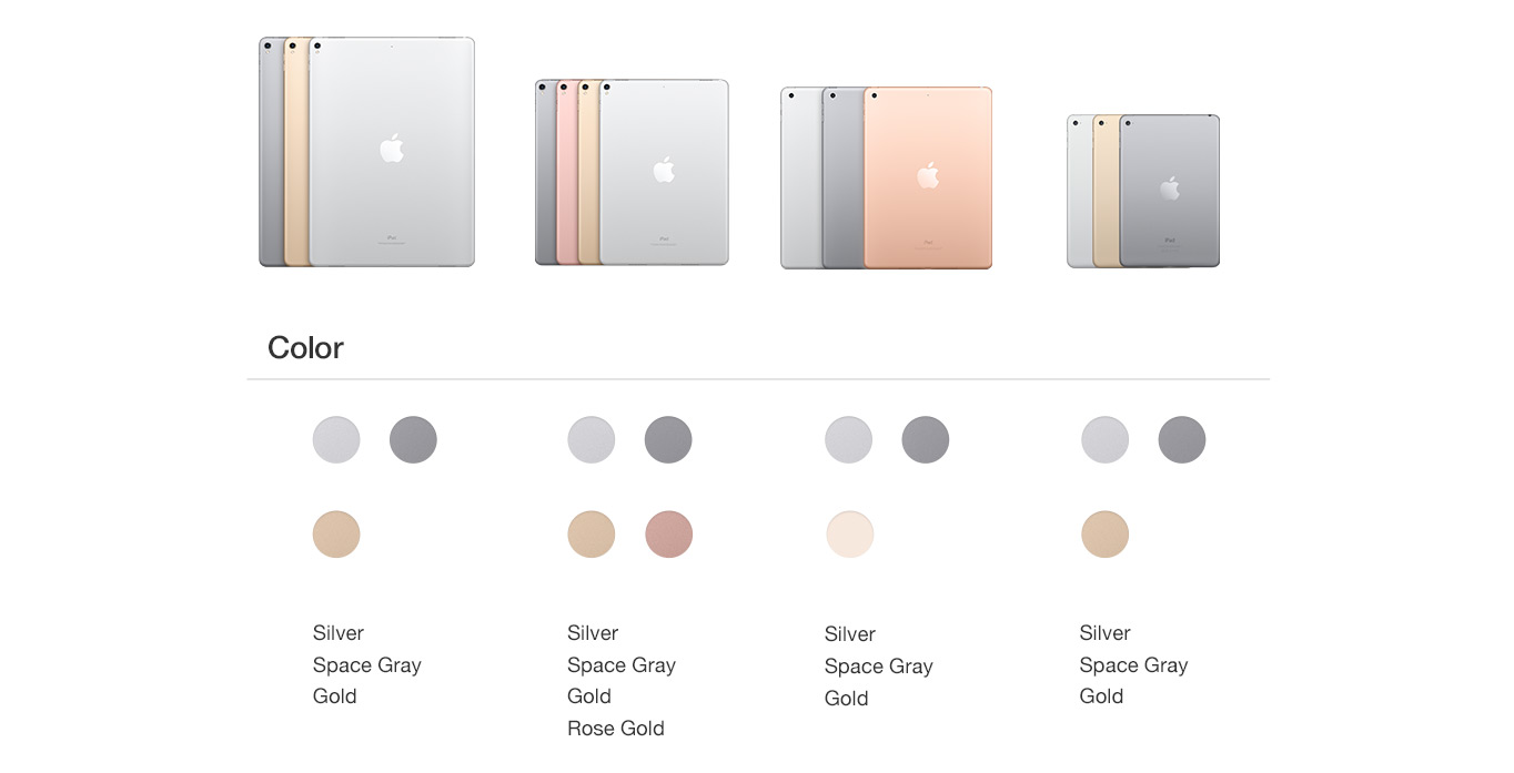 Apple ipad comparison chart walmart compare ipad ipad color selection nvjuhfo Choice Image