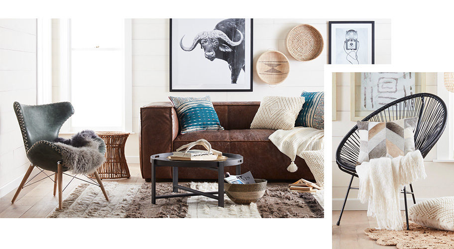 A bohemian style page with boho furniture and decor.