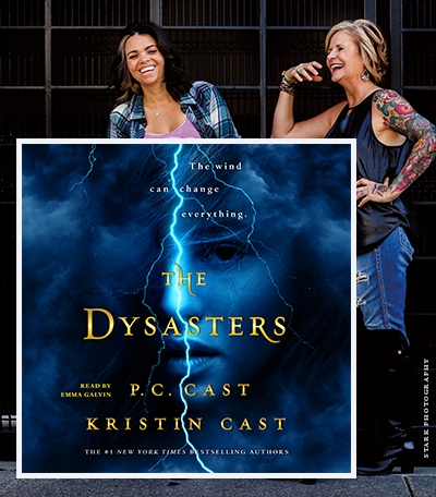 Mother daughter duo and their book cover for 'The Dysasters'