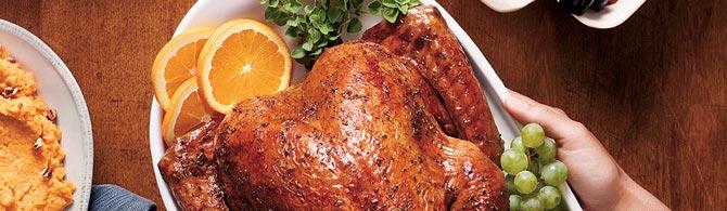 Roast turkey on a Thanksgiving table