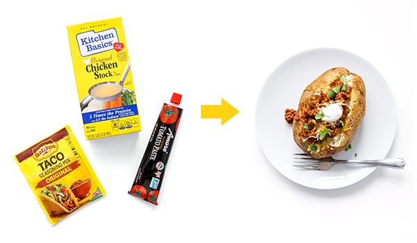 Pantry dishes ingredients | taco potato