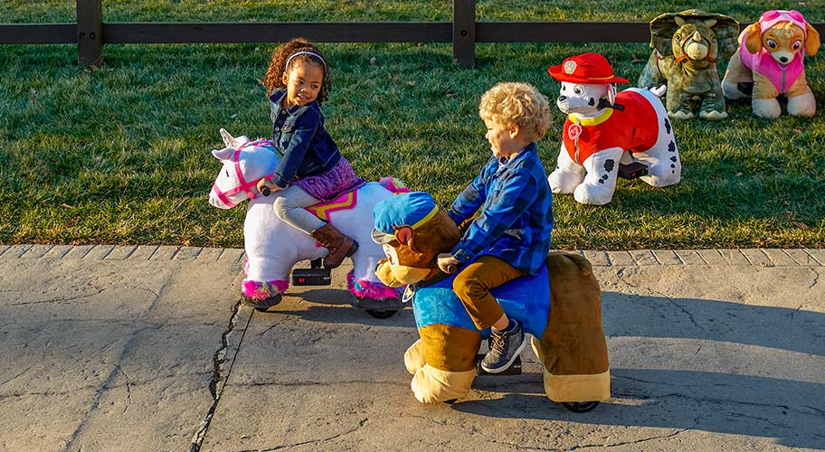 Ride into the fun set. Discover dozens of plush ride-ons. from stationary rocking horses to battery-powered police cars.